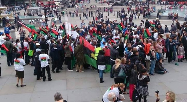 Biafrans Protest In Front Of President Obama's Residence At The US