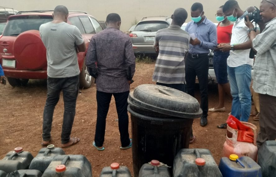 Image result for Methamphetamine: NDLEA closes illegal factory, parades three suspects